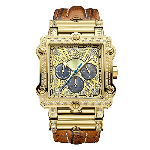 JBW Luxury Men's Phantom 2.38 ctw Diamond Wrist Watch with Leather Bracelet ()