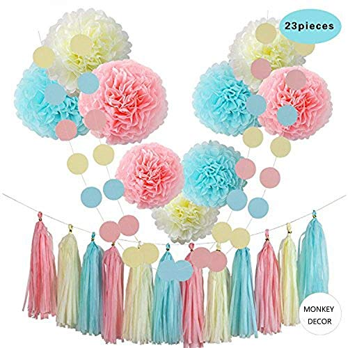 Hellokids Tissue Pom Poms Paper Flowers,9 pcs of 8, 10, 12 Inch,Tissue Paper Tassel Paper Decorations For First Birthday - Baby Shower - Wedding - Table and Wall Decorations (Light Blue, Pink, Yellow)