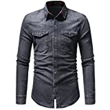Men's Denim Shirts Clearance Sale vermers Men Autumn Winter Vintage Distressed Solid Long Sleeve Top Blouse(L, Gray)
