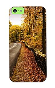 Hot Dsdlna-3708-gpnsezi Case Cover Protector For Iphone 4/4s- Nuture Landscapes Roads Fence Stripes Stone Rocks Leaves Trees Forests Skies Sky Clouds Colors / Special Gift For Lovers