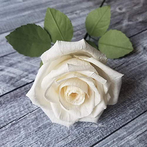 (White Paper Rose Handmade Realistic Artificial Rose from Crepe Paper Perfect Paper Gift for Christmas,Wedding Anniversary, Valentine's Day, Mother's Days, Single Long Stem, 01 Flower)