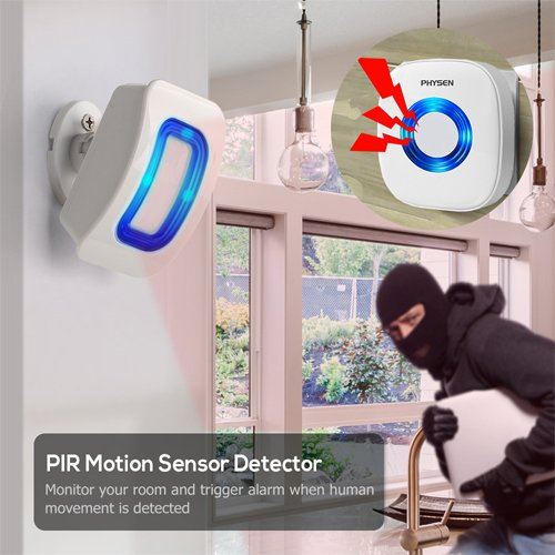 PHYSEN Wireless Door Motion Sensor Alarm,Door Open Chime Detect Alert, Home Security Door Entry Chime with 1 Motion Sensor and 1 Receiver,400ft Range,52 Chimes,4 Volume Levels,Build in LED Indicators by Physen (Image #2)