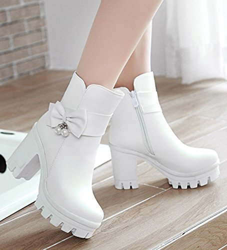Aisun Womens Elegant Beaded Dressy High Block Heel Booties Inside Zip Up Pointy Toe Platform Ankle Boots With Bows White GwaUmPJX