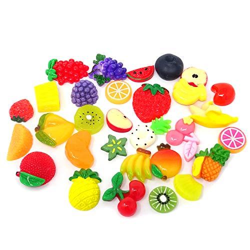 - Honbay 30PCS Slime Charms, Assorted Flatback Resin Slime Beads for Scrapbooking, Hair Clip, DIY Crafts, etc (Fruit)