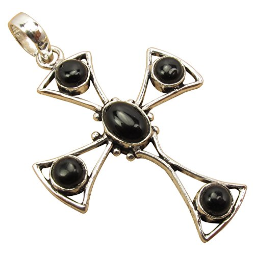 925 Sterling Silver Plated Real BLACK ONYX CROSS Brand New Antique Style Pendant 2.2