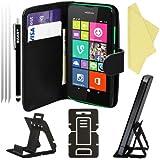 BAAS® Nokia Lumia 530 - Etui Housse Coque en Cuir Portefeuille + 2 x Film de Protection d'Ecran + Stylet Pour Ecran Tactile + Support de Bureau