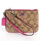 Coach Peyton Signature Khaki Coated Canvas Fuchsia Leather Phone Wristlet Pouch, NWT 50142