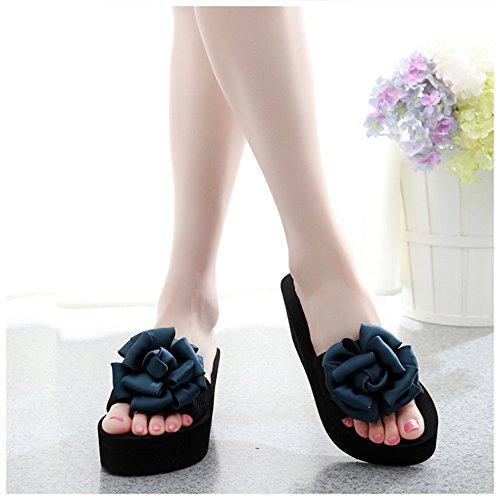 Sandals Feifei Women's Summer Fashion Open Toe Cloth Art Flowers Roman Thick Bottom Slippers Bohemia Non-Slip Beach Shoes Wedges 7CM Blue wKNFG