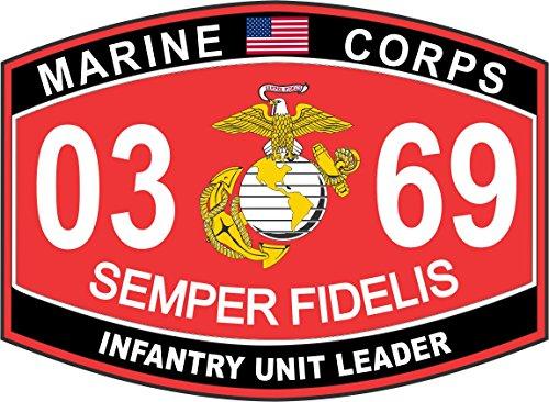 Infantry Unit Leader Marine Corps MOS 0369 USMC US Marine Corps Military Window Car Bumper Sticker Vinyl Decal 3.8