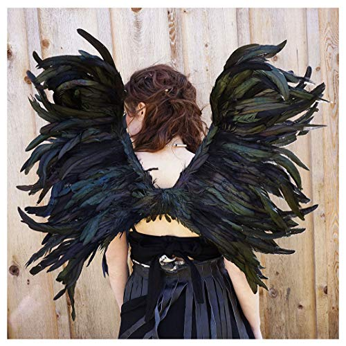 Black Feathered Angel Wings (Zucker Feather Products Zucker Exotic Black Cosplay Adults-Halloween Adjustable Large Feather Angel Wings for Children and)