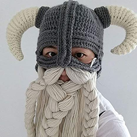 84fabfeaba9 Amazon.com  Vikings Beanies Beard Horn Hats Handmade Knitted Winter Warm  Caps Men s Women Birthday Cool Gifts Funny Cool Gag Party Xmas Mask (Red)   Health ...