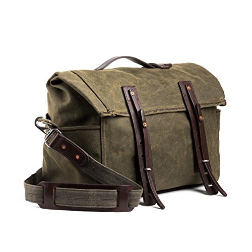 Saddleback Leather Small Canvas Rolled Duffel - Canvas/Leather Duffle Bag - 100 Year Warranty by Saddleback Leather Co.