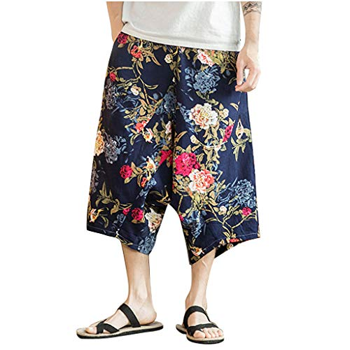 iHHAPY Mens Cropped Trousers Linen Loose Casual Harem Pants Chinese Style Printed Jogger Pants Fitness Trousers Pants Red