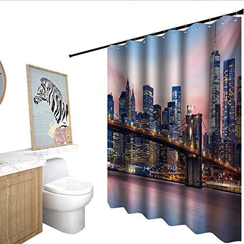 (homecoco New York Floral Shower Curtain Brooklyn Bridge and Lower Manhattan Skyline Under Pink Sunrise Long Exposure Art Image Shower stall Curtain Blue)