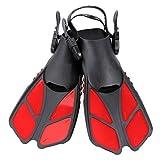 CAPAS Snorkel Fins, Swim Fins Travel Size Short Adjustable for Snorkeling Diving Adult Men Womens Kids Open Heel Swimming Flippers (Red, S/MD(Kids JR 9-13))