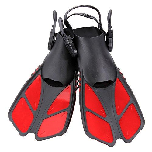 CAPAS Snorkel Fins, Swim Fins Travel Size Short Adjustable for Snorkeling Diving Adult Men Womens Kids Scuba Open Heel Swimming Flippers (Red, S/MD(Kids JR 9-13))