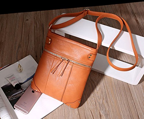 Crossbody Bag BEKILOLE Multi Leathers Leather Purse Pocket Weekender Tan OqXpx4q6