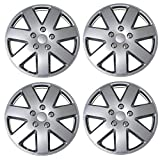 #1: TuningPros WSC3-5058S16 4pcs Set Snap-On Type (Pop-On) 16-Inches Metallic Silver Hubcaps Wheel Cover