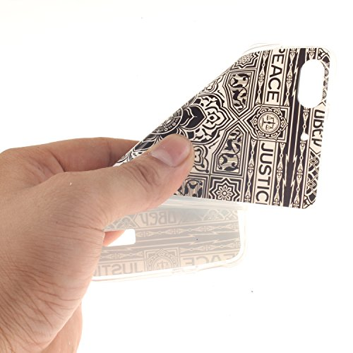 Huawei honor 4C Funda,Ligero a Prueba de Choques Flexible Ultra Fino Suave TPU Parachoque Carcasa MAGQI Tecnología IMD Diseño Impreso Vendimia Serie Patrón [Absorción de Impacto] Resistente a los Arañ Negro Tótem Floral
