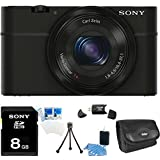 Sony DSC-RX100 20.2 MP Exmor CMOS Sensor Digital Camera with 3.6x Zoom BUNDLE with 8GB Card, Case, Card Reader, Mini tripod, LCD Screen Protectors + More