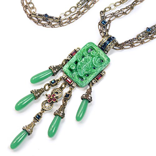 Green Vintage Art Glass Deco Asian Long Fringe Necklace