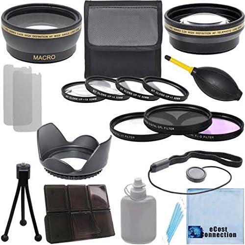 4Pc Close Up Lens 3Pc Filter Sets 2.2x Telephoto Lens Pro Series 52mm 0.43x Wide Angle Lens and Nikon Wide Nikon Wide Angle AF Nikkor 24mm f//2.8D Autofocus Lens Lens Hood with Deluxe Lens Accessories Kit For Nikon AF-S Nikkor 35mm f//1.8G DX Lens