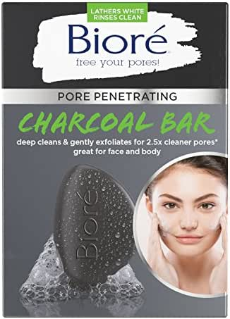 Bioré Pore Penetrating Charcoal Bar, Daily Face Wash, Naturally Purifies Pores, Dermatologist Tested, Gently Exfoliates, Vegan Friendly, Cruelty Free, Paraben Free, 1 Count