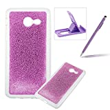 Soft Gel Case for Samsung Galaxy J530 2017,Ultra Slim Flexible Sparkle Rubber Cover for Samsung Galaxy J530 2017,Herzzer Luxury Stylish Purple Bling Glitter TPU Bumper Silicone Protective Case for Samsung Galaxy J530 2017 + 1 x Free Purple Cellphone Kickstand + 1 x Free Purple Stylus Pen
