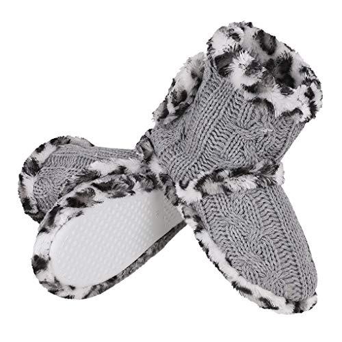 Montants Femmes pour Gris pour Maison Botte à Chaussure Chaussons Moelleux Femelles Souple Tricoté YJZQ Chaussons HwxUvv