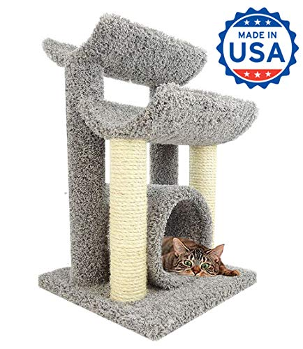 - CozyCatFurniture 30 inch Wooden Kitty Tree Hammock | Two Sisal Scratching Poles | Large Cat Cradles & Tunnel | Gray Carpet