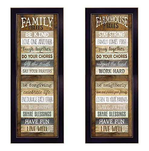 ''Family/Farmhouse Rules Shutter'' Collection By Marla Rae, Printed Wall Art, Ready To Hang Framed Poster, Black Frame by Trendy Decor4U