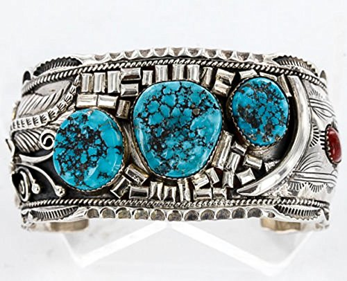 Large Collectable Handmade Certified Authentic Navajo .925 Sterling Silver Coral Turquoise Signed Native American Cuff ()