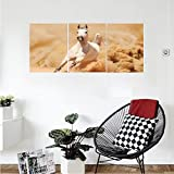 Liguo88 Custom canvas Animal Decor Collection Arabian Horse Breed Running Out of the Desert Storm Sand High Tail Creature Nature Photo Bedroom Living Room Wall Hanging Cream White