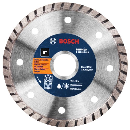 Bosch DB542 Premium Plus 5-Inch Dry Cutting Continuous Rim Diamond Saw Blade with 7/8-Inch Arbor for Masonry (Blade Diamond Plus Premium)