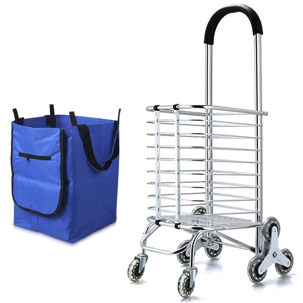 Fold Shopping Trolley, salire le scale Carrello con Tranquillo rotelle di gomma, alluminio Materiale Lega, stabile e ad alta cuscinetto di carico per una facile memorizzazione-blu (2)