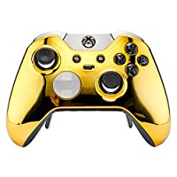 eXtremeRate® Custom Chrome Gold Replacement Top Shell Case Front Housing Faceplate Kits for Xbox One Elite Remote Controller Cover