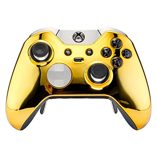 - eXtremeRate Custom Chrome Gold Replacement Top Shell Case Front Housing Faceplate Kits for Xbox One Elite Remote Controller Cover