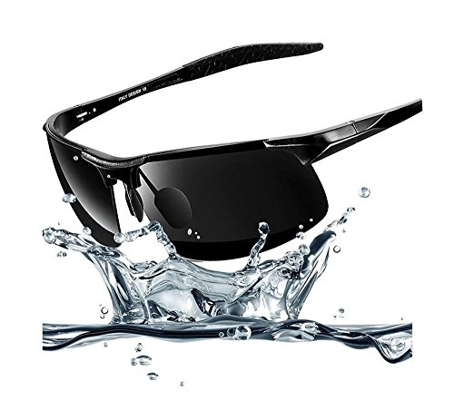 Hero High-grade aluminum-magnesium polarized sunglasses driving mirror riding glasses discoloration (Black-rimmed black ()