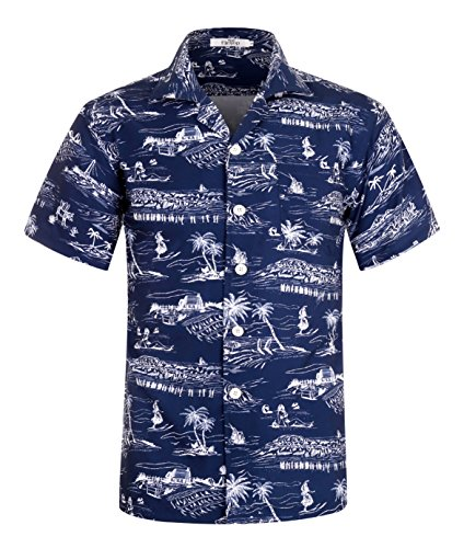 ELETOP Mens Hawaiian Shirt Short Sleeve Aloha Shirt Beach Party Flower Shirt Holiday Casual Shirts
