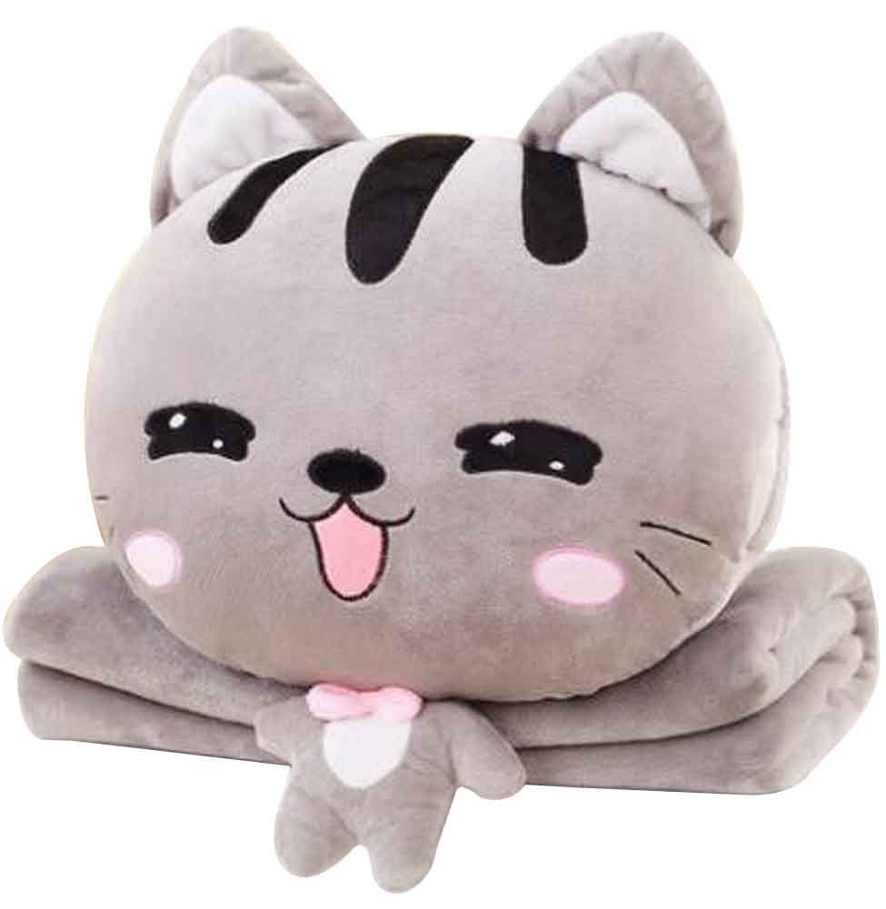 Cute Little Cat 3 In 1 Blanket Cushion Pillow, Perfect for Winter [G] Black Temptation