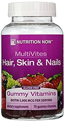 Nutrition Now Multi-Vitamin Plus Hair, Skin and Nails Support Gummy Vitamins, 70 Count