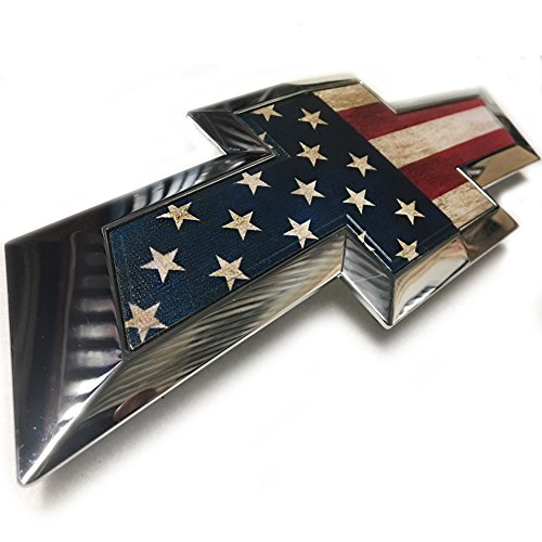 Tie Bow Silverado Tail Chevy (American Flag Chevy Bow tie Emblem Silverado 1500 Custom Chevy Bowtie Emblem for Grill OR Chevy Silverado Tailgate Emblem No Boring Black Chevy Bowties (004F-2007-2013))