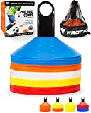 Pro Disc Cones (Set of 50) - Agility Cones with Carry Bag and Holder for Training, Soccer, Football, Kids, Sports, Field Cone Markers - Includes Top 15 Drills eBook (Multi-Color)