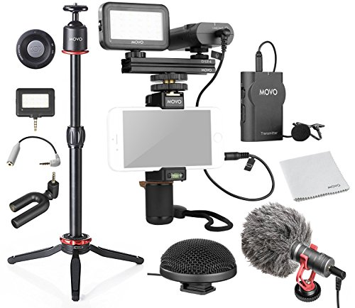 Movo Huge Smartphone Video Kit V8 with Grip Rig, Wireless Shotgun Mini and 360° Stereo Microphones, 16 and 30 LED Lights, Pro Mini Tripod and Remote - for iPhone, Samsung Galaxy, Note and More ()