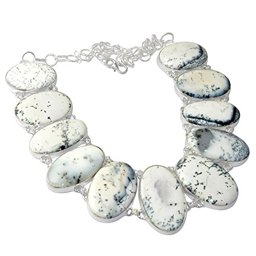 SILVERART 117.8Gm Dendrite Opal Handmade 925 Silver Plated Necklace Jewelry by SILVERART