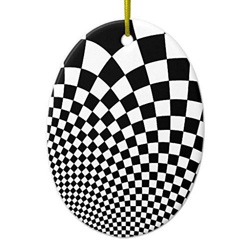 - Venu67Hol Punk Warped Retro Checkerboard in Black and White Ceramic Ornament Oval Shape