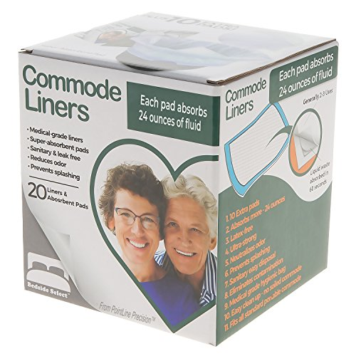 BEDSIDE SELECT Commode Liners 20 Bags & 30 Pads (10 FREE!) 24 oz Super Absorbent Pads, You'll LOVE Them! Fit Universal Portable Toilet for Adults, All Bedside Commodes for Adults (Potette Plus 30 Pack Value Pack Liners)
