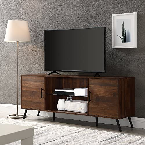 "Walker Edison Furniture Company Mid Century Modern Wood Universal Stand for TV's as much as 65"" Flat Screen Cabinet Door and Shelves Living Room Storage Entertainment Center, 60 Inch, Dark Walnut"