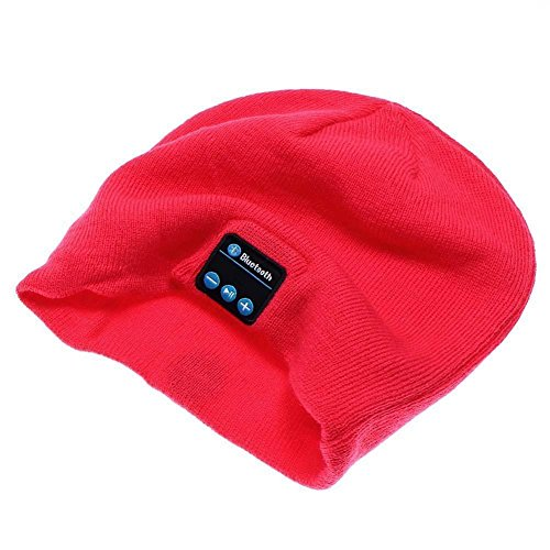 Del-Digital Knitted Outdoor Sports Hat Wireless Bluetooth Beanie Cap with Microphone Speakers Stereo Headphone Headset for Iphone/Samsung Calls,Running Skiing Skating, Music Hat For Woman/Girls (Red)