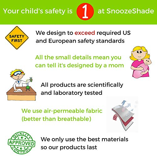 SnoozeShade Plus Deluxe | Universal fit sun shade for strollers | 360-degree sun and UV protection | Sleep shade and mosquito net | Recommended for 6m+ by SnoozeShade (Image #4)